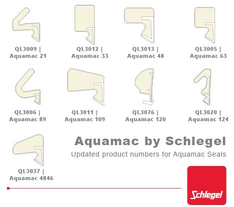 Schlegel Aquamac AQ and QL product code conversions.