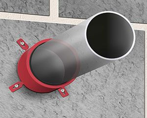 CE Marked Intumescent Pipe Closer penetrating a firewall.